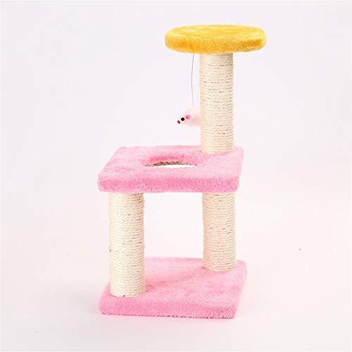 Kalmerende Bed Plush Boom kat toren Furniture Sisal krabpaal kat springen Toy Wood Kittens Pet House speeltoren for Katten Dog Tag (Color : 1)