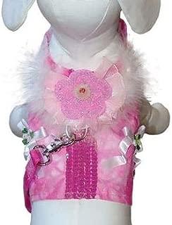 Cha-Cha Couture Posh Princess Dog Harness Vest Leash Pink Size Large