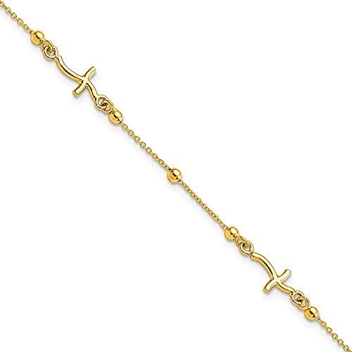 Pulsera de oro amarillo de 14 quilates pulido con cruz religiosa y cuentas para mujer – 18 centímetros
