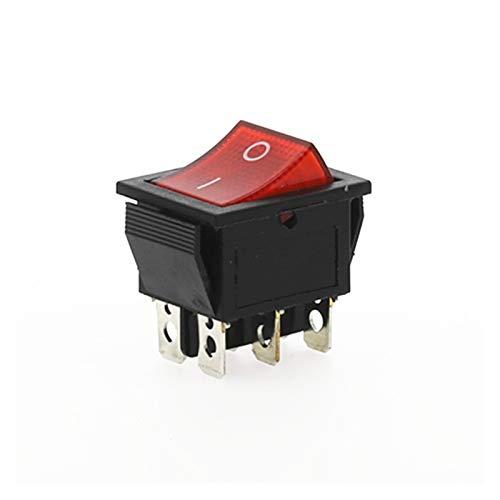 YSJSPKK Interruptor basculante 1 unids KCD4 Rocker Interruptor Interruptor de alimentación Autobloqueo 2 Posición 6 Pines con luz 15A 250VAC / 20A 125VAC 32 * 25mm (Color : Red)