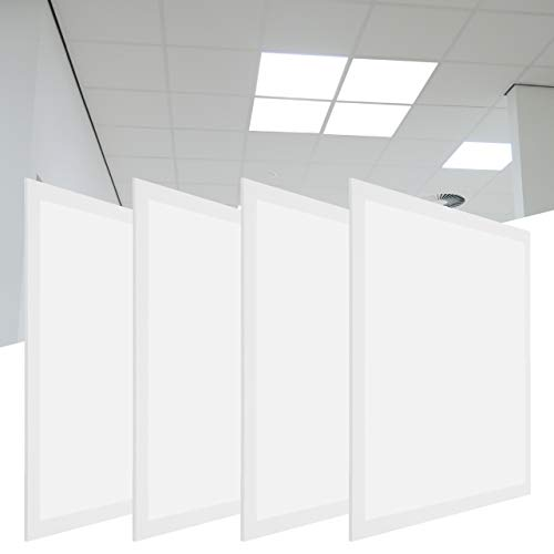 LED-Panel 62 x 62 cm, 4 Stück, 3.420 Lumen, 36 W, warmweiß 3.000 K, wiederanschließbares Netzteil m. Eurostecker