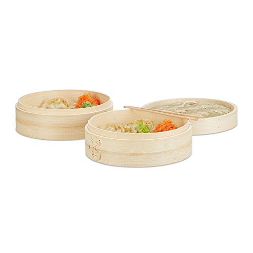 Relaxdays bamboedemper, 3-delig, 2 stoommanden met deksel voor rijst en din, stoomkoker met 24 cm diameter, natuur