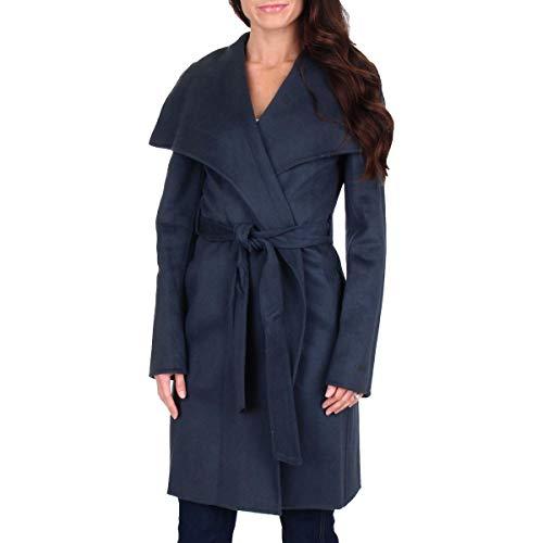 Price comparison product image T Tahari Ellie Womens Double Face Shawl Collar Wrap Coat Grey Size M