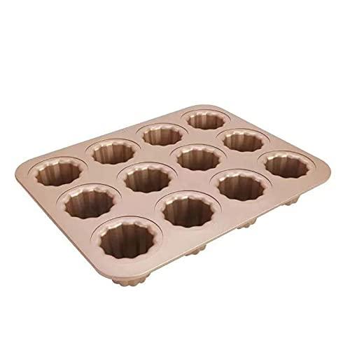 zyh Antiadherente de 12 cavidades para Hornear en Horno,Molde para Pasteles,Molde para Pasteles,Acero al Carbono