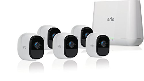 Arlo Pro Security System with Siren – 5 Rechargeable Wire-Free HD Cameras with Audio, Night Vision, White (VMS4530-100NAS)
