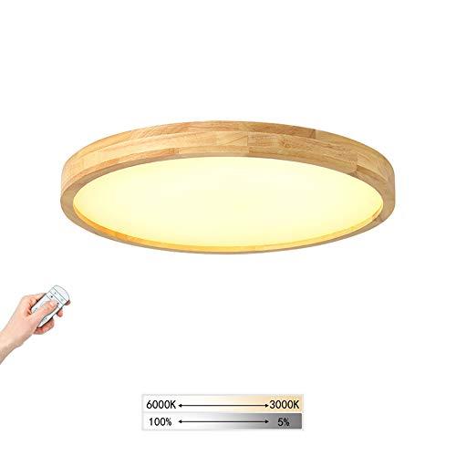 Holz LED-Deckenleuchte Ultradünne Runde Deckenlampe Dimmbar Mit Fernbedienung, Holzlampe für Schlafzimmer Wohnzimmer Esszimmer Büro Flur Kinderzimmer Decke Licht Küchenleuchte, Moderne Lampe,Ø40cm 30W