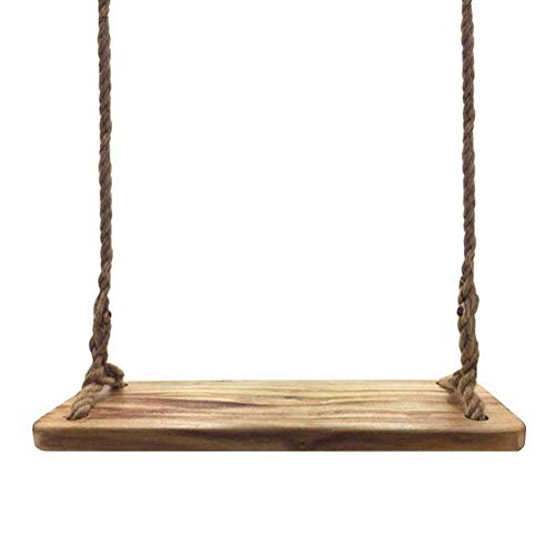 Aoneky Columpio de Árbol para Adultos y Niños - Columpio Colgante para Jardín Exterior, Columpio con Cuerda de 3M, Carga de 160kg, Asiento de Madera Paulownia 60×20cm, Marrón