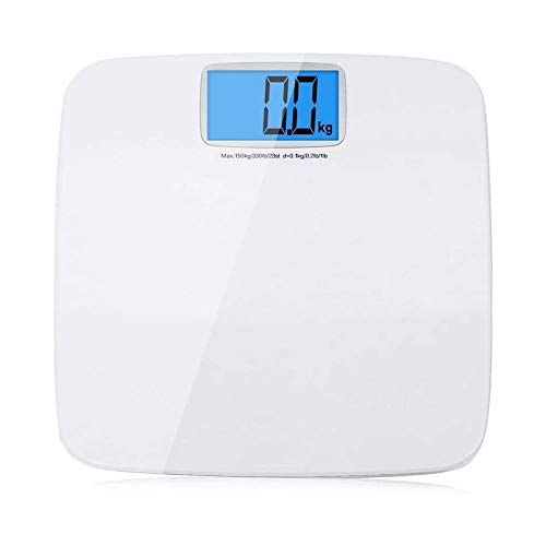 LKNJLL Electronic Weighing Scales Body Weight Scale,Human Body Weighing Adult Precision Weight Loss Meter Health Scale,LCD Easy to Read Display (Color : White) 7