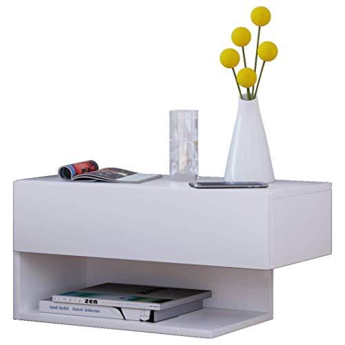 VCM Dormal Maxi Wand Nachttisch/Nachtschrank/Beistelltisch kommode, Holzdekor, Weiß, 15 x 60 x 31.5 cm
