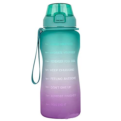 Mosako - Botella de agua de 2 litros con marcador de tiempo motivador con pajita Tritan antifugas sin BPA para fitness y deportes al aire libre (B)