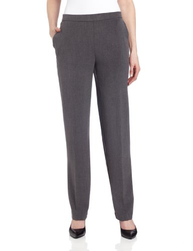 Briggs New York Women's Pull On Dress Pant Average Length & Short Length, Heather Grey, 10