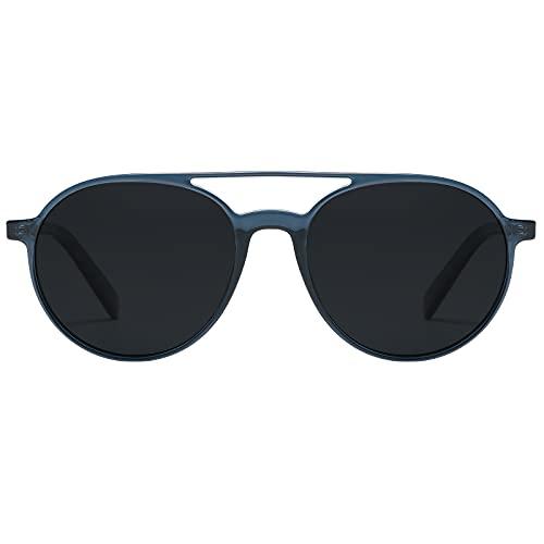 H HELMUT JUST Gafas De Sol Aviador Hombre Mujer Polarizadas Verano TR90 y Acetato HJ1005 (Azul Oscuro/Gris)