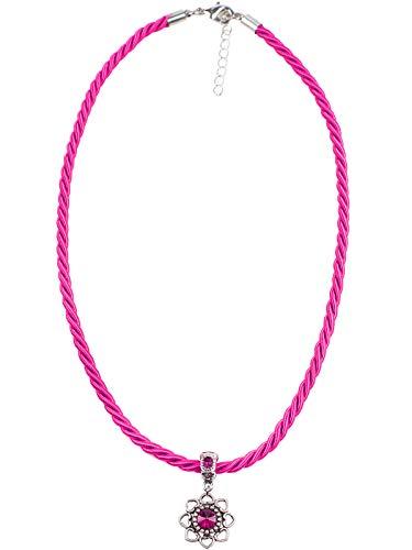 Schlick Kordelkette mit Anhänger rund | Trachtenkette für Damen | Kette mit Kordel & Strassstein Neu (pink)