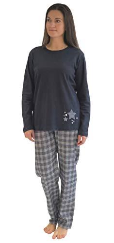 NORMANN WÄSCHEFABRIK Damen Flanell Pyjama Mix & Match - Oberteil mit Sterne Motiv - auch in Übergrößen, 281 201 90 994, Farbe:Marine, Größe2:48/50