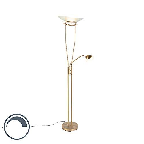 QAZQA - Moderne Stehleuchte | Stehlampe | Standleuchte | Lampe | Leuchte Bronze inkl. LED und Dimmer - Lexus Dimmer | Dimmbar | Wohnzimmer | Schlafzimmer | Deckenfluter - Stahl Länglich - | (nicht aus