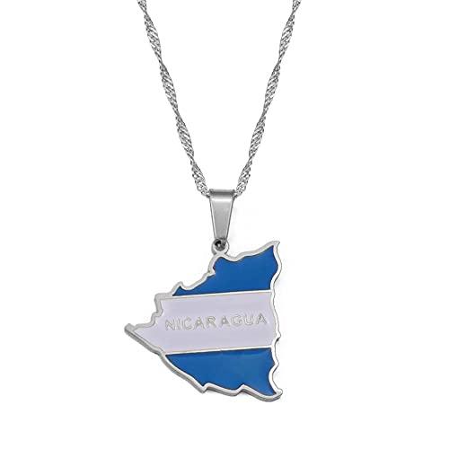QWKLNRA Collar para Mujer Mapa De Nicaragua Collares con Colgante De Bandera para Mujer Encanto De Color Dorado Mapas De Nicaragua Joyería Regalos Patrióticos Encanto Hecho A Mano Talismán Acc