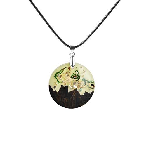 AMINIY Resina De Madera Luminosa Colgante Collar De Luz Absorbente Y Resplandor En La Cadena De Suéter De Joyería Creativa Especiales Oscuras For Hombres Mujeres (Color : Style 1)