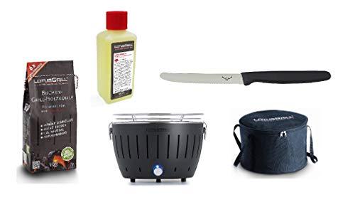 LotusGrill Small Kompakt Starter-Set Anthrazitgrau der raucharme Holzkohlegrill mit 1 kg Buchenholzkohle, 200 ml Brennpaste, 1x Allzweckmesser und 1x Tasche. Stromversorgung via USB oder Powerbank