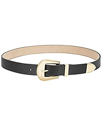 Steve Madden Western Buckle Belt Black Gold Size Medium -$38 -NWT