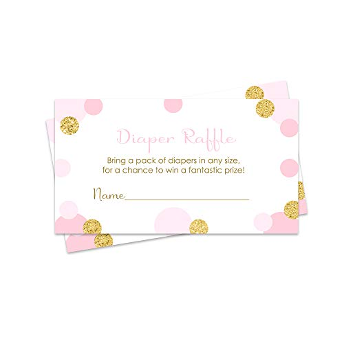 Pink and Gold Diaper Raffle Tickets (25 Pack) Girls Baby Shower Invitation Insert Cards for Drawing Games