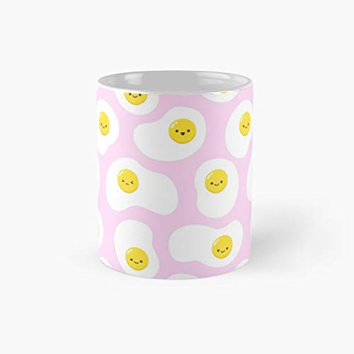 Cute Fried Eggs Pattern Classic Mug | Best Gift Funny Coffee Mugs 11 Oz