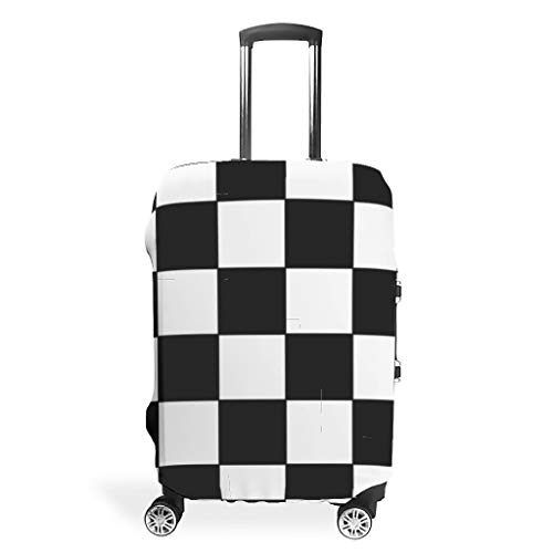 BTJC88 Chess Board Travel Suitcase Cover - Black and White Lattice Print 4 Sizes fit Protective Suitcase White s (19-21 inch)