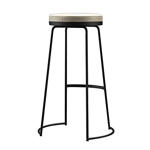 Taburetes Cocina Alto Juego de 2, Silla alta, taburete de bar, superficie de piel sintética, cojín de esponja, estructura de metal, altura de asiento de 45/65/75 cm, fácil de montar, estilo rústico