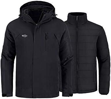 Wantdo Men s Skiing Jacket Warm Winter Coat 3 in 1 Parka Detachable Puffer Coat Black M product image