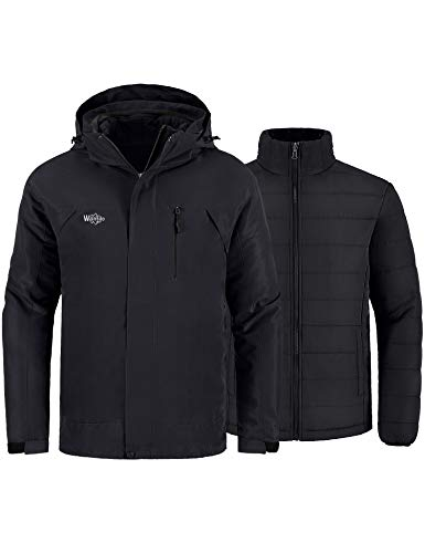 Wantdo Men's Skiing Jacket Warm Winter Coat 3-in-1 Parka Detachable Puffer Coat Black M