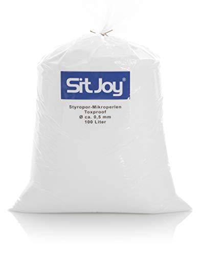 Sitjoy Sitzsack-Füllung | Styropor-Mikro-Perlen schadstoffgeprüft [Ø ca. 0,5 mm] | 100 Liter | Nachfüllbeutel – Füllmaterial für Sitzsäcke und Stillkissen