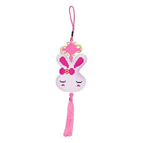 sociphebute Chinese Knot Tassel Kit Stamp DIY Fox Rabbit Beads Cross Stitch Car Pendant