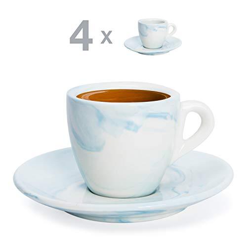 Hausmann & Söhne Espresso Tassen dickwandig   Set 8-TLG   4er Set Blaue Marmor Tassen mit Untertassen   Porzellan   Tasse 80ml   Espresso Tassen Set mit Untersetzer   Geschenkidee