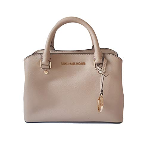 """Saffiano leather with gold-tone hardware. Double top handles with 3"""" drop; adjustable/detachable shoulder/crossbody strap, 23"""" drop. Triple compartment features center zip compartment and two open compartments with magnetic snap closure. Interior: Lo..."""