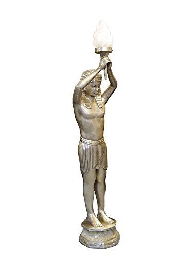 Antike Fundgrube Lampe Stehleuchte Standleuchte Pharao mit Einer Fackelleuchte in Silber (5855)