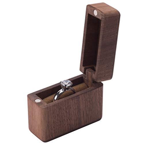 Elibeauty Caja de anillo portátil compacta de nogal alta joyería hecha a mano caja de madera para compromiso, anillo de boda, caja de anillos de madera natural única hecha a mano joyería (01)