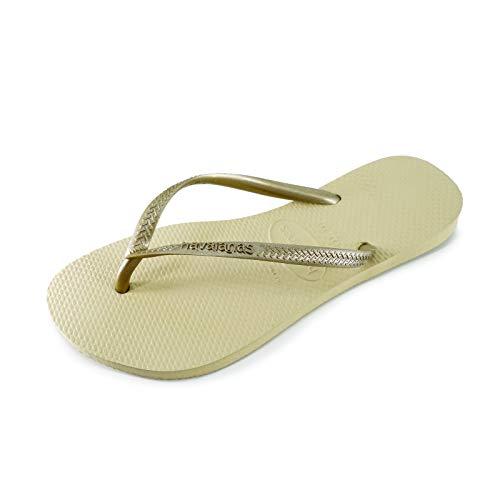 Havaianas Women's Slim Flip Flop Sandal, Sand Grey/Light Golden, 7-8