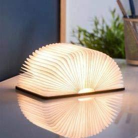 Buchlampe, Sailnovo Hölzerne faltende Buch-Lampe, SchreibtischLampe mit Akku 2500 mAh, Dekorative Lichter Nachttischlampe 8 Stunden, Papier mit USB-Kabel, 360°Faltbar