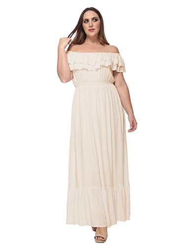 Anna-Kaci Women's Plus Size Bohemian Ruffle Off The Shoulder Stretchy Empire Waist Maxi Long Dress, Beige, Large