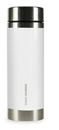 Yoko Design Théière Isotherme Double Paroi en Acier Inoxydable, sans BPA, Gourde réutilisable éco-responsable pour Thé, Sport, Enfant, Bureau, Voyage 350 mL