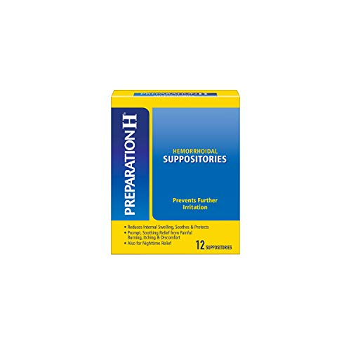 PREPARATION H Hemorrhoid Symptom Treatment Suppositories, Burning, Itching and Discomfort Relief (12 Count)