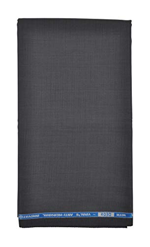 VIMAL Men's Polyester Unstitched 1.3 m Trouser Fabric (Dark Grey, Free Size)