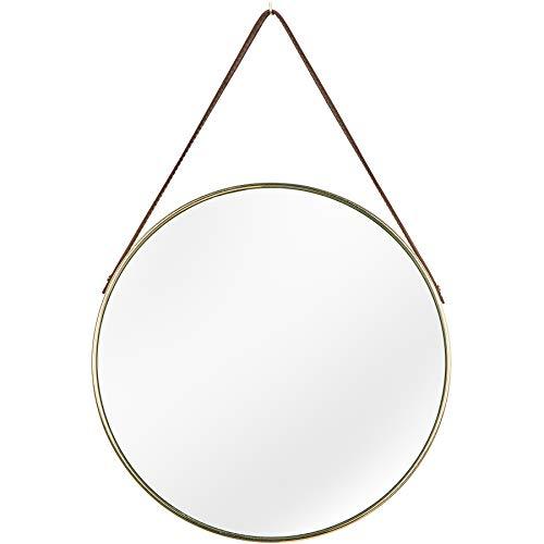 riess-ambiente.de Runder Design Spiegel Portrait 45cm Gold braun Kunstleder Aufhängung Wohnaccessoire Deko Wandspiegel