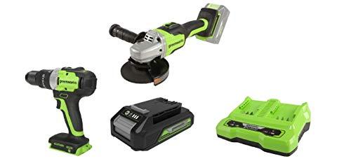 Greenworks Akku-Winkelschleifer GD24SAG + Akku-Bohrschrauber GD24DD65 +Akku G24B2 2.Generation +Doppelsteckplatz-Akku-Universalladegerät G24X2C