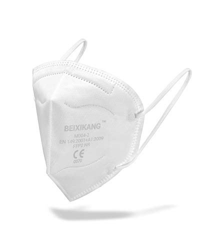 BEIXIKANG FFP2 Maske CE Zertifizierung Weiß - (20 Stück) CE 0370 Zertifiziert Schutzmaske Stück Für Erwachsene geeignet