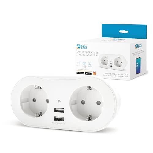 Garza  Smarthome - Enchufe inteligente con 2 tomas y 2 Puertos USB. Compatible con Amazon Alexa y Google Home