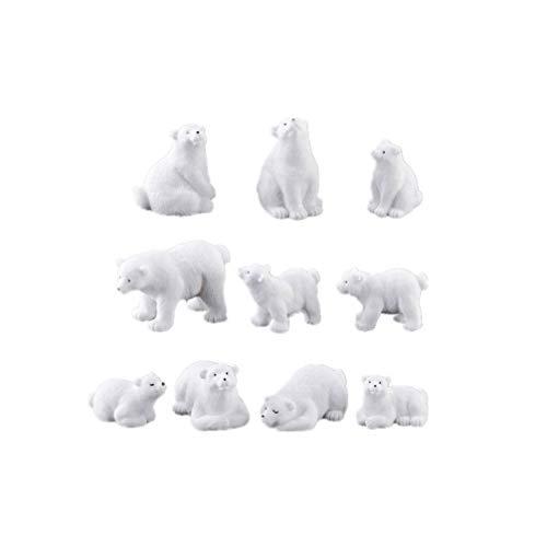 Yardwe 11pcs Mini Polar Bear Miniature Animals Figures Polar Bear Figurines Polar Bear Cake Toppers Landscape Dollhouse Decor Christmas Ornaments (Mixed Style)