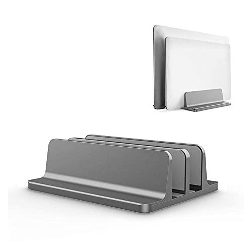 Soporte de computadora portátil Vertical para MacBook Air Pro Pro Dowtop Double Desktop Soporte de Escritorio con Muelle Ajustable (hasta 17.3 Pulgadas) L30 R57 (Color : Gray)