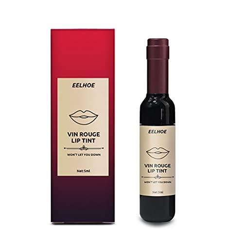 BTOSEP Lápiz Labial de Labio de Labios de Vino, diseño de lápiz Labial de Botella de Vino Creativo Mate lápiz Labial de Labio a Prueba de lápiz Labial Labial Belleza cosmético, 5ml