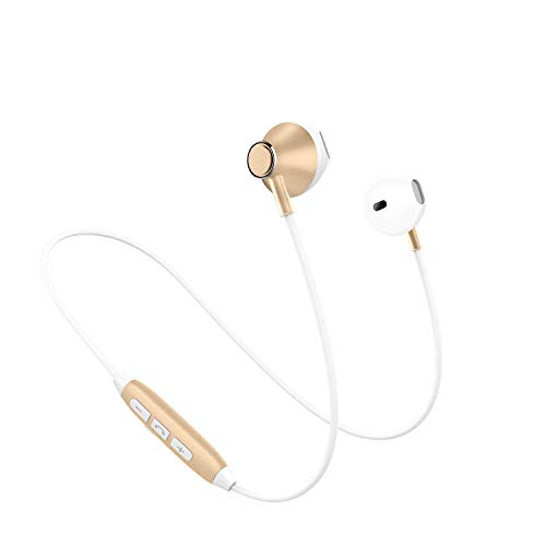 BNANAB -headphone Drahtlose Bluetooth-Kopfhörer Support 2 Geräte HD Buit-in MicLightweight Sport Ohrhörer Sweatproof HiFi Stereo Magnetic Earbuds für Jogging, Laufen, Gym,Gold