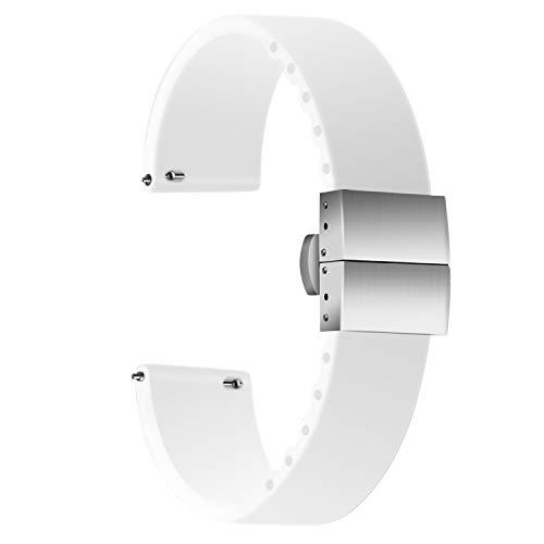 Ullchro Correa Reloj Calidad Alta Recambios Correa Relojes Caucho - 14mm, 16mm, 18mm, 20mm, 22mm, 24mm Silicona Correa Reloj con Acero Inoxidable Hebilla desplegable (18mm, White)